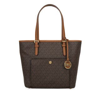 Michael Kors Jet Set Medium Brown Signature Top Zip Logo Tote Bag
