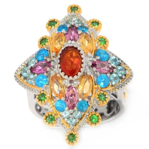 Michael Valitutti Palladium Silver Neon Apatite, Fire Opal & Multi Gemstone Star Ring