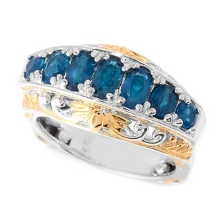 Michael Valitutti Palladium Silver Neon Apatite Graduated Band Ring