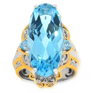 Michael Valitutti Palladium Silver Multi Shape Swiss Blue Topaz Elongated Ring