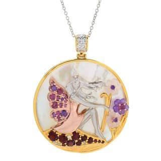 Michael Valitutti Palladium Silver Round Mother-of-Pearl & Multi Gemstone Fairy Pendant|https://ak1.ostkcdn.com/images/products/14636480/P21176314.jpg?impolicy=medium