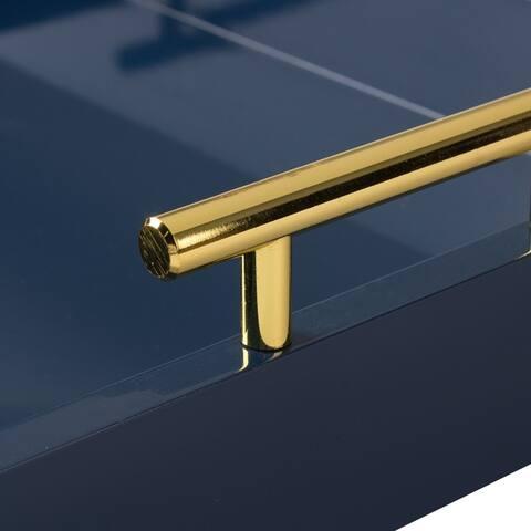 Kate and Laurel Lipton Polished Metal Handle Decorative Tray - 16.5x12.25x3.25