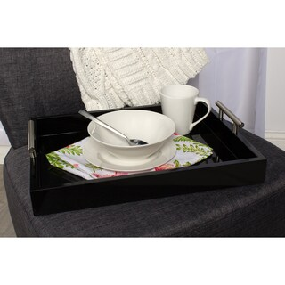 Kate and Laurel Lipton Polished Metal Handle Decorative Tray