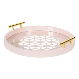 Kate and Laurel Caspen Round Cut-out Pattern Decorative Gold Metal Handles Tray (Option: Pink)