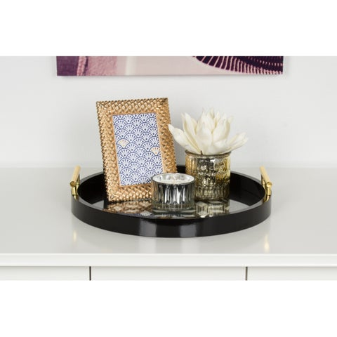 Kate and Laurel Caspen Round Cut-out Pattern Decorative Gold Metal Handles Tray