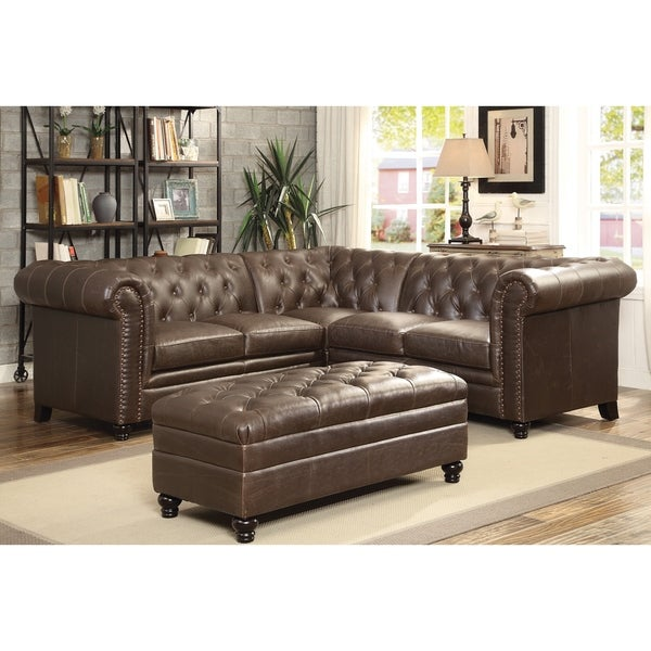 Shop Brown Leather Tufted Sectional Sofa Free Shipping