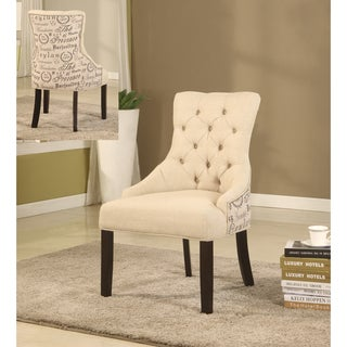 Best Master Furniture Tufted Beige Accent Chair (Set of 2 Pcs)