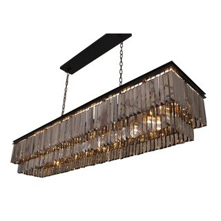D'Angelo 60-inch Smoked Glass Rectangular Crystal Fringe Chandelier