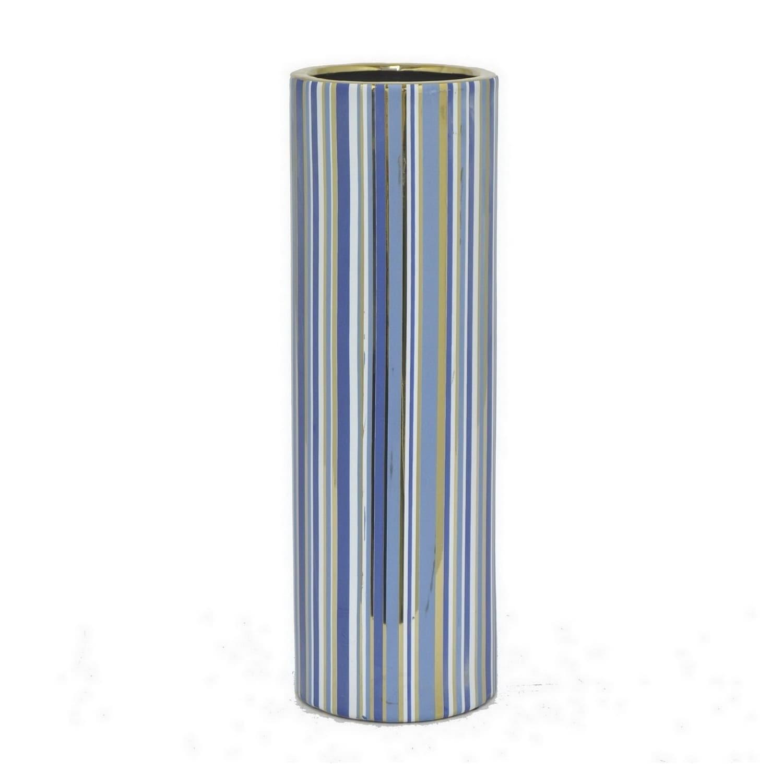 Benzara Blue and Golden Ceramic 14-inch Vase (Multi)