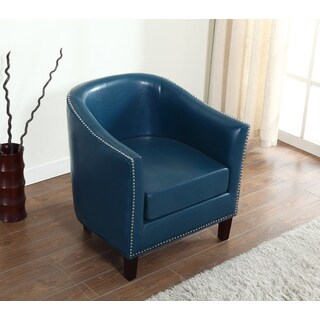 Best Master Furniture Blue Leather Arm Chair