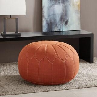 Madison Park Taylor Orange Oversized Round Pouf Ottoman