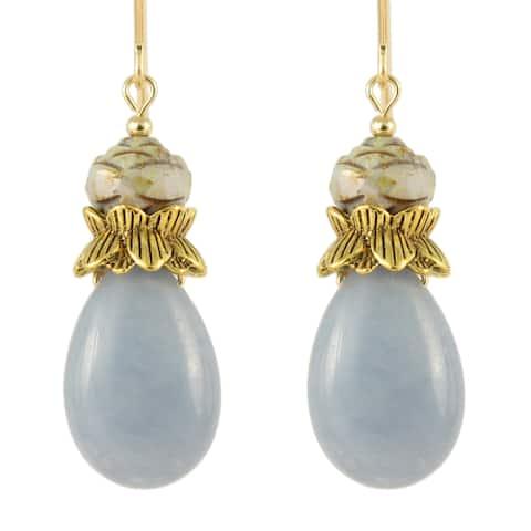 Handmade Durga Angelite and Glass Bloom Teardrop Earrings