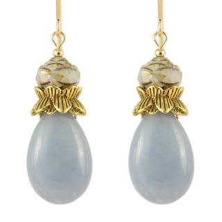 Durga Angelite and Glass Bloom Teardrop Earrings