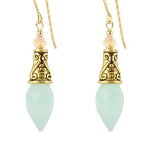 Handmade Evania Chalcedony Teardrop Earrings