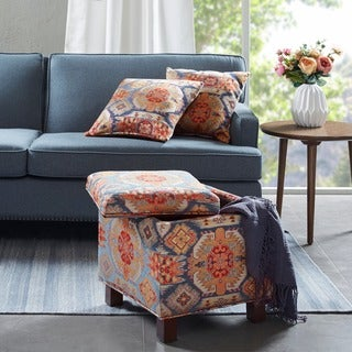 Link to Madison Park Allison Red Square Storage Ottoman with 2 Pillows Similar Items in Cocktail Ottomans