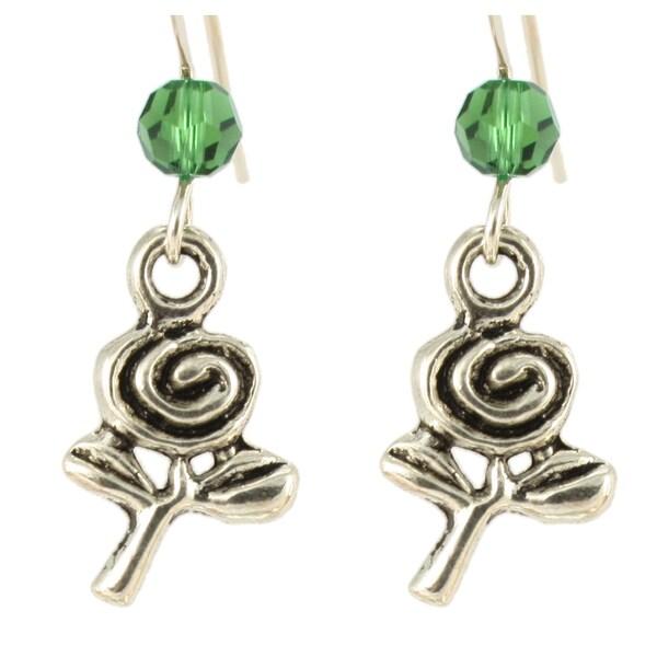 Sterling Silver Birthstone Fl Earrings