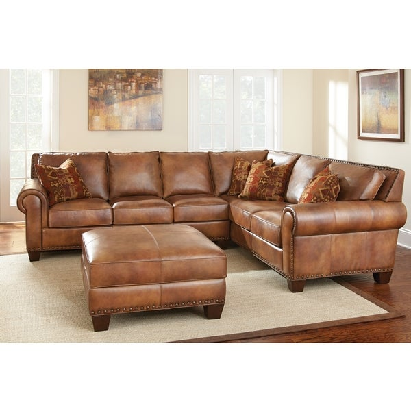 Shop Sanremo Top Grain Leather Sectional Sofa And Ottoman