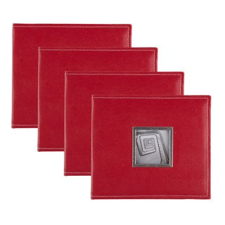 DesignOvation Sleek Red Faux Leather 8x8 Scrapbook (Set of 4)