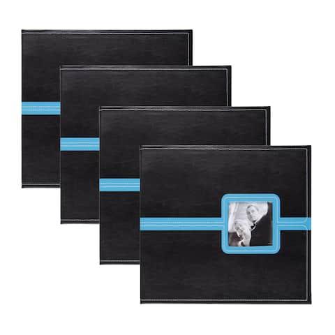 DesignOvation Metro Black Faux Leather 12 x 12 Scrapbook (Pack of 4)