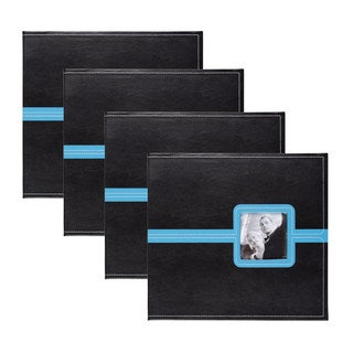 DesignOvation Metro Black Faux Leather 12 x 12 Scrapbook (Pack of 4)