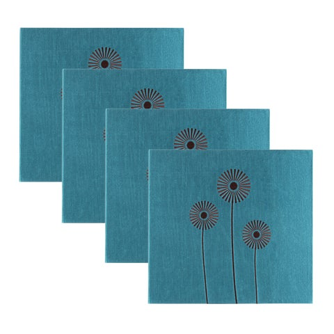 DesignOvation Crazy Daisy Embroidered Teal Scrapbook (Pack of 4)