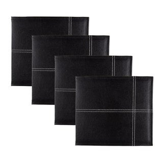 DesignOvation Black Stitched Faux Leather 8-inch x 8-inch Scrapbook (Set of 4)