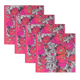 DesignOvation Floral Pink Pattern Photo Album (Holds 100 4x6 Photos, Set of 4)