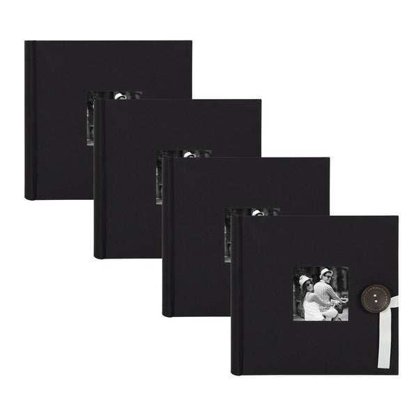 DesignOvation Kim Fabric Photo Album Holds 200 4 x 6 Photos (Set of 4)