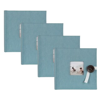 DesignOvation Kim Teal Fabric Photo Album Holds 200 4 x 6 Photos (Set of 4)