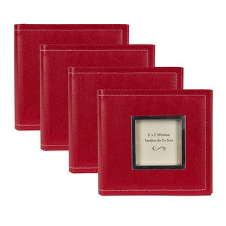 DesignOvation Sleek Red Faux Leather 4 x 6 Photo Album (Set of 4)