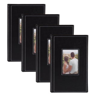 DesignOvation Debossed Black Faux Leather Photo Album (Pack of 4) (Option: Black)