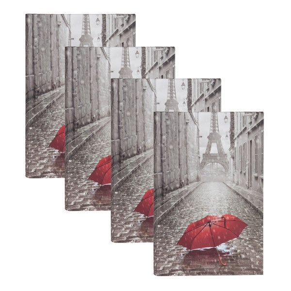 DesignOvation Paris with Red Umbrella Photo Album (Pack of 4)