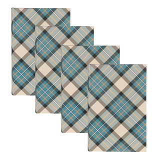 DesignOvation Plaid Blue and Natural 4 x 6 Photo Album (Set of 4)