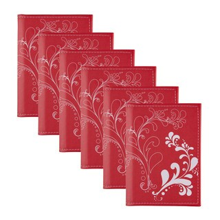 DesignOvation Flourish Red Photo Albums for 36 4-inch x 6-inch Photos (Pack of 6)