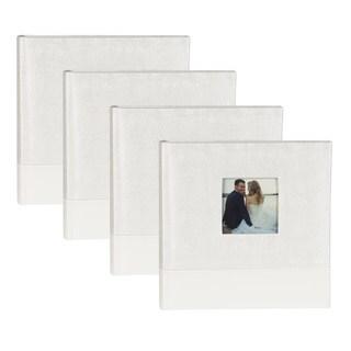 DesignOvation White Fabric Bridal Wedding Photo Opening Photo Album (Set of 4)