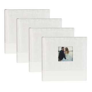 DesignOvation White Fabric Bridal Wedding Photo Opening Photo Album (Set of 4)