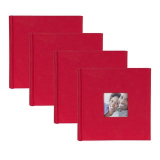 DesignOvation Red Fabric Photo Album (Pack of 4)