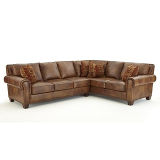 Sanremo Top Grain Leather Sectional Sofa By Greyson Living