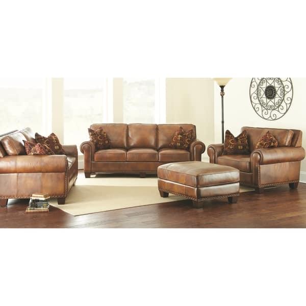 Shop Sanremo 4-Piece Top Grain Leather Sofa Set by Greyson ...