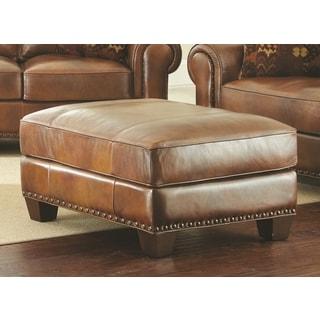 Sanremo Top Grain Leather Ottoman by Greyson Living