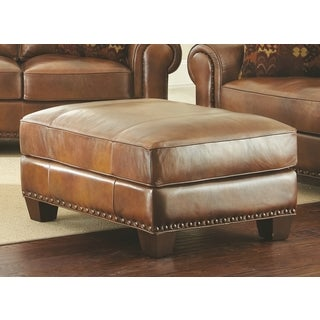 Sanremo Top Grain Leather Ottoman by Greyson Living