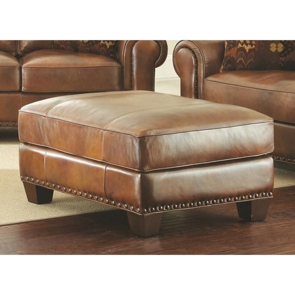 Shop Sanremo Top Grain Leather Ottoman By Greyson Living