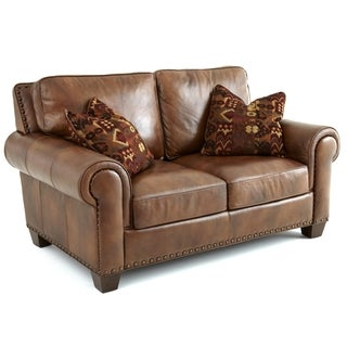 Sanremo Top Grain Leather Loveseat with Two Pillows by Greyson Living