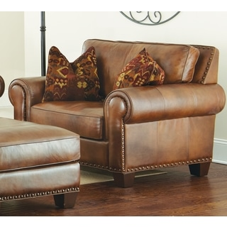 Sanremo Top Grain Leather Chair With Two Pillows By Greyson Living