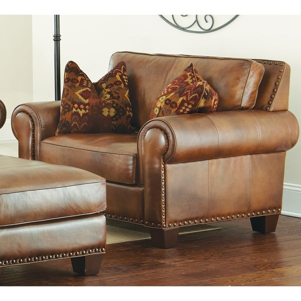 Charmant Sanremo Top Grain Leather Chair With Two Pillows By Greyson Living
