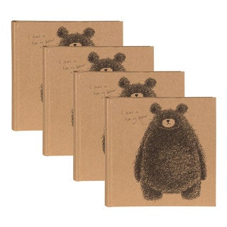 DesignOvation Hairy Bear Brown Paper/Plastic Wrapped Photo Album (Set of 4)