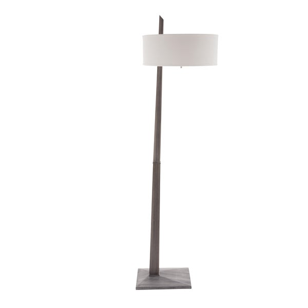 White Linen and Ash Grey Wood Tilt 1-Light Floor Lamp