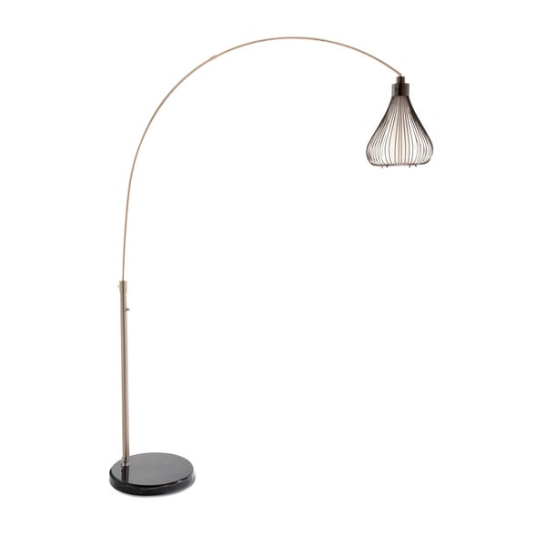 Matte Black Steel Teardrop Shade and Brushed Nickel Arc Lamp