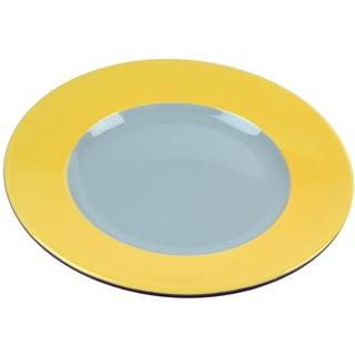 Hemisphere Round Grey and Yellow 11-inch Stoneware Dinner Plate (Set of 4)