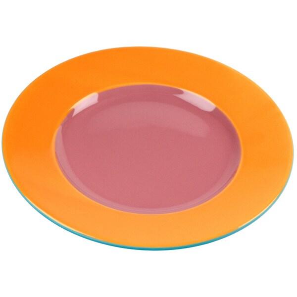 OmniWare Hemisphere Round Pink and Orange 11-inch Stoneware Dinner Plate (Set of 4)